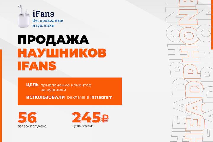 """Таргетированная реклама в instagram """"Наушники iFans"""""""