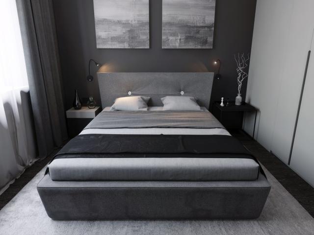 Спальня в оттенках серого