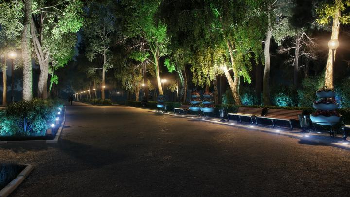 Визуализация вечернего освещения в парке