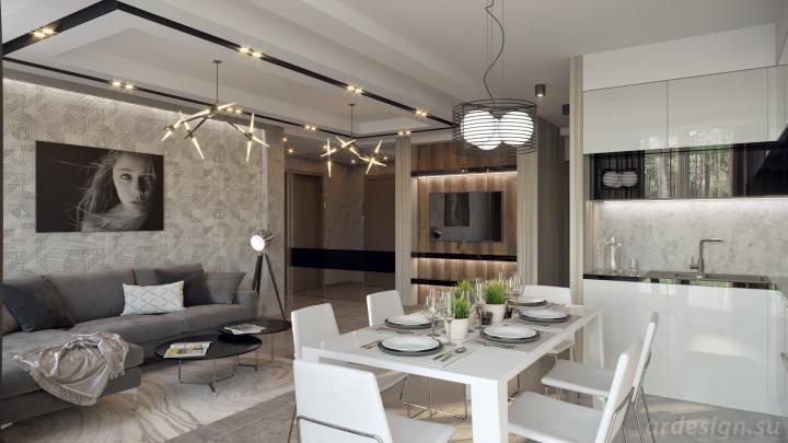 Современная кухня-гостиная