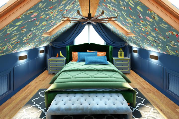 Спальня на мансарде в частном доме
