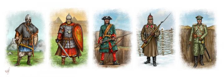 5 солдат разных эпох ( линейка графики для охранного агентства)