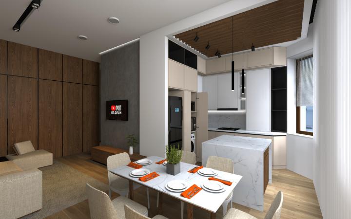 Кухня-гостиная минимализм