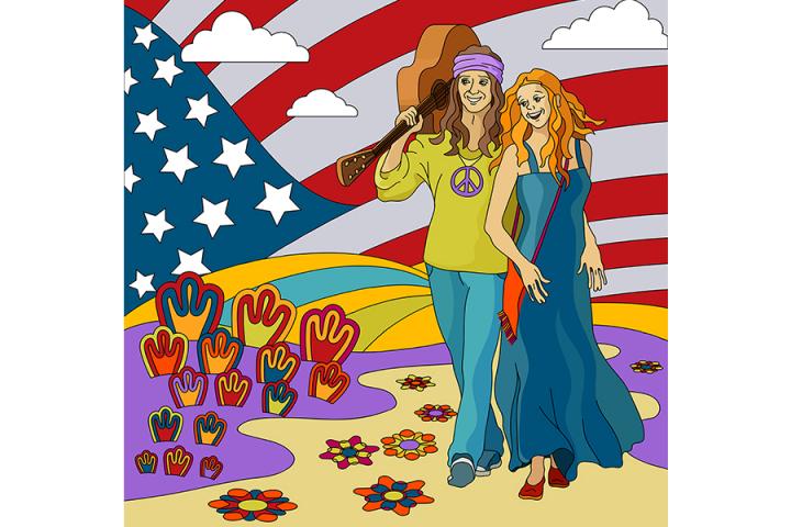 """Векторная иллюстрация """"Хиппи. США"""""""