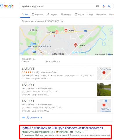 Москва - Топ 1 Google - Тумба с сиденьем