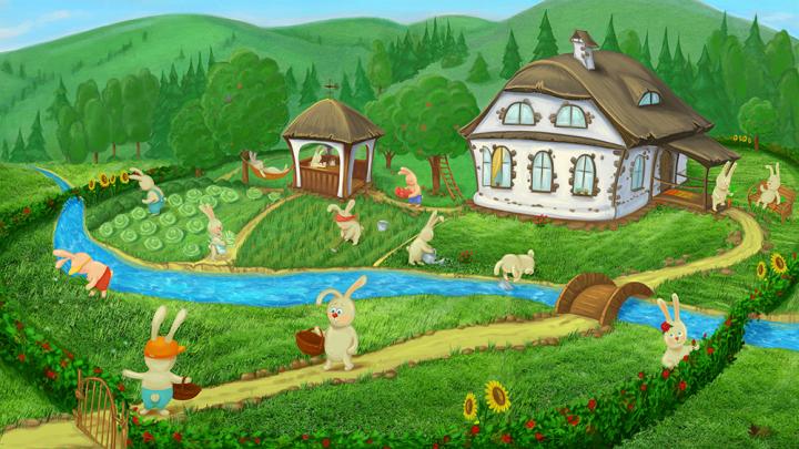 Иллюстрация для  книги рассказов о зайках