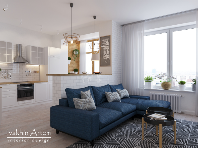 дизайн кухни-гостиной в скандинавском стиле