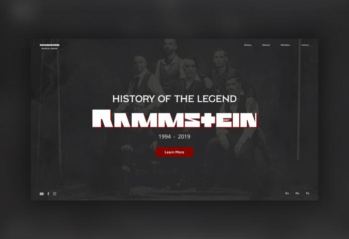Концепт дизайн сайта группы Rammstein
