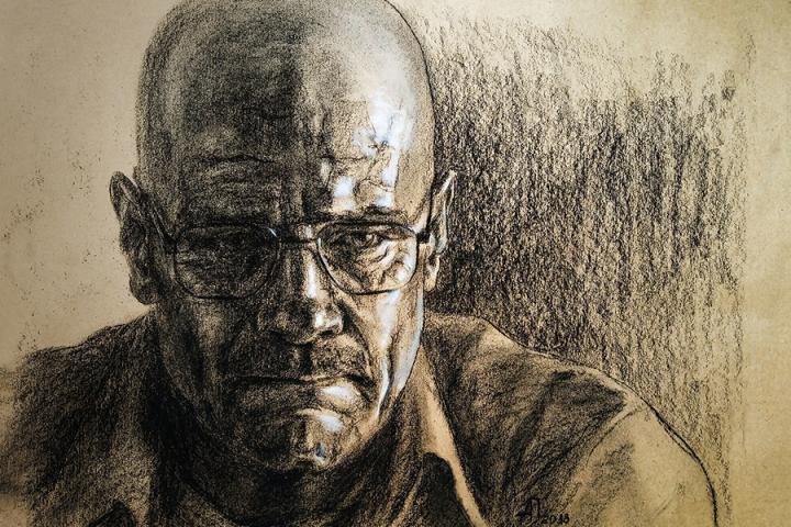 Уолтер Уайт - Хайзенберг.Уголь, меловой карандаш, крафт-бумага.