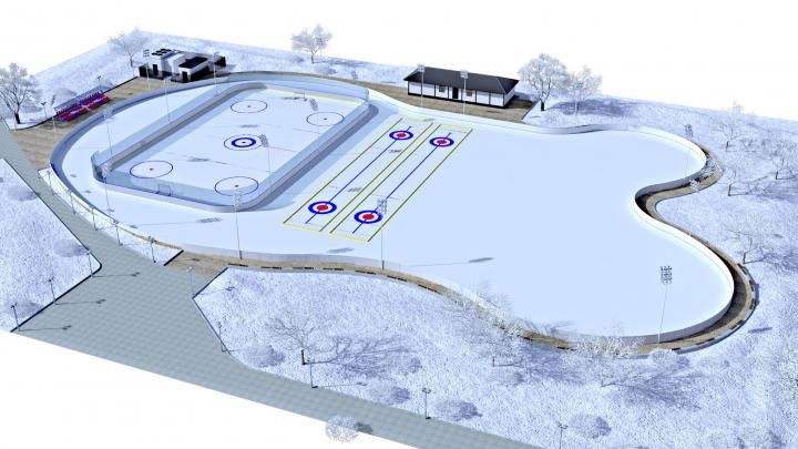 Спортивная площадка зима.