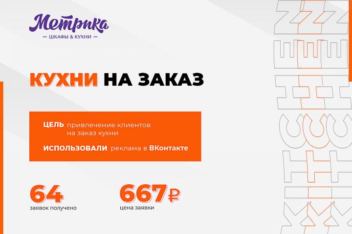 "Таргетированная реклама в ВКонтакте ""Кухни на заказ"""