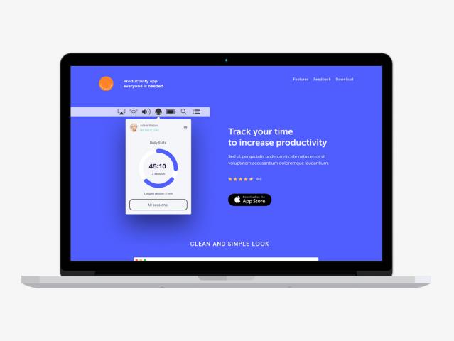 Верстка лендинга Productivity app