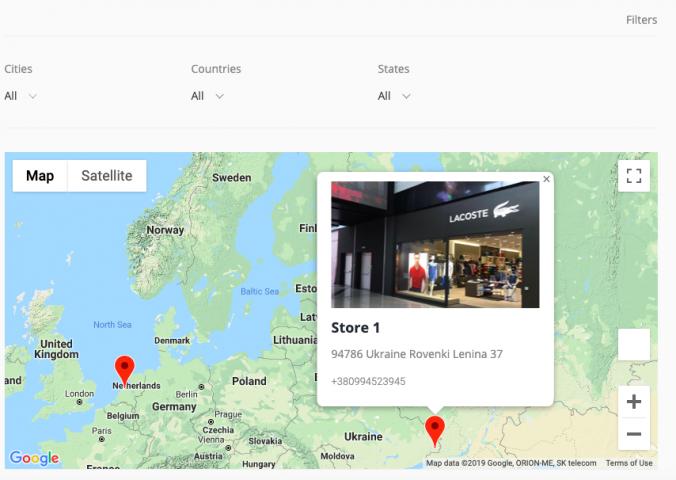 Фильтрация продавцов на карте