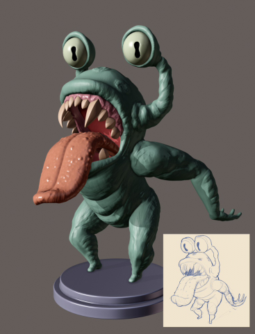 Скульпт монстра по своему эскизу.