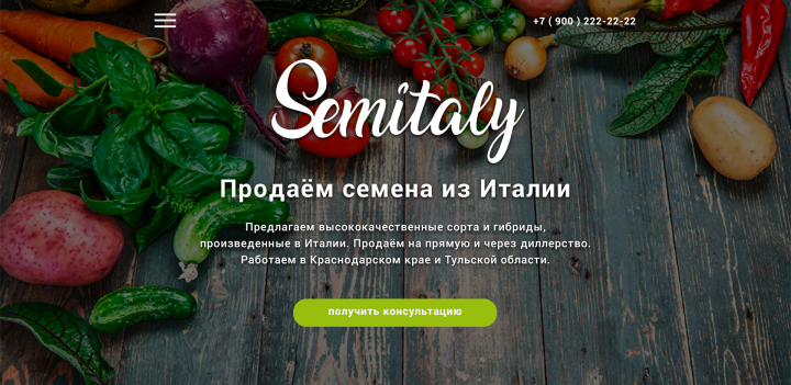 Дизайн главной для сайта по продаже семян