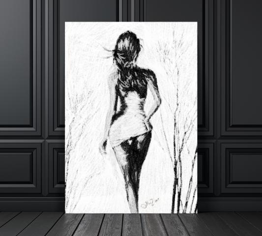 Она (угольный карандаш и мел) цифровая живопись