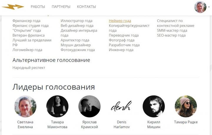 "Шорт-лист в номинации ""Неймер года"" премии ""Золотое копьё"" 2019"