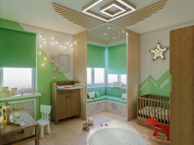 Детская комната с угол комнаты для чтения