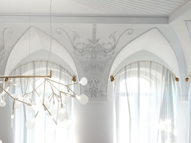 Детали гостиной с лепным декором