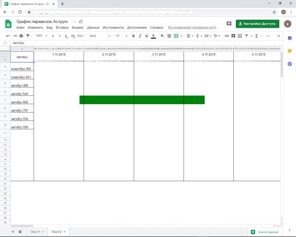 Сделать Таблицу на основе диаграммы Ганта в GOOGLE таблице (exel