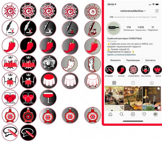 иконки для instagram сербского ресторана Субботица