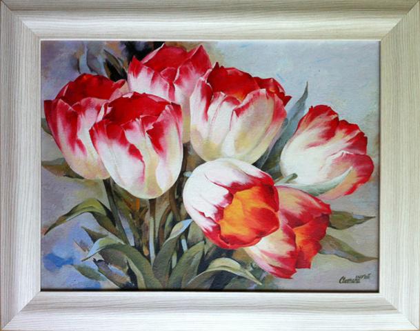 Тюльпаны (в рамке). Холст, акрил.