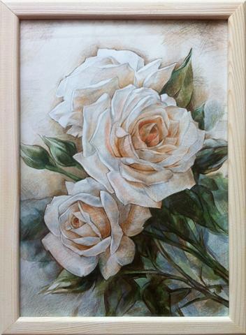 Розы (в рамке). Акв. бумага, цв. графика.