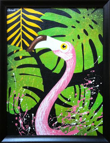 Фламинго (в рамке). Холст, акрил.