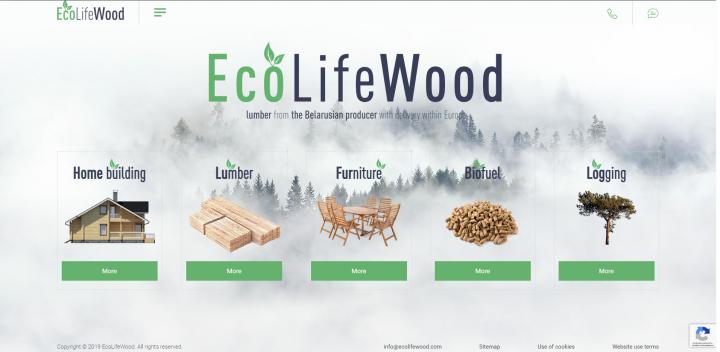 Ecolifewood - многостраничный мультиязычный сайт