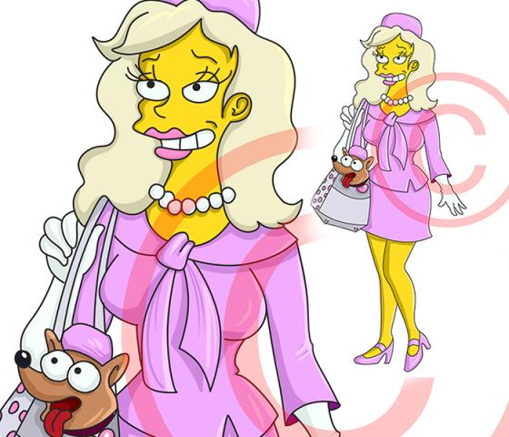 рисунок девушки в стиле Симпсонов ( The simpsons)