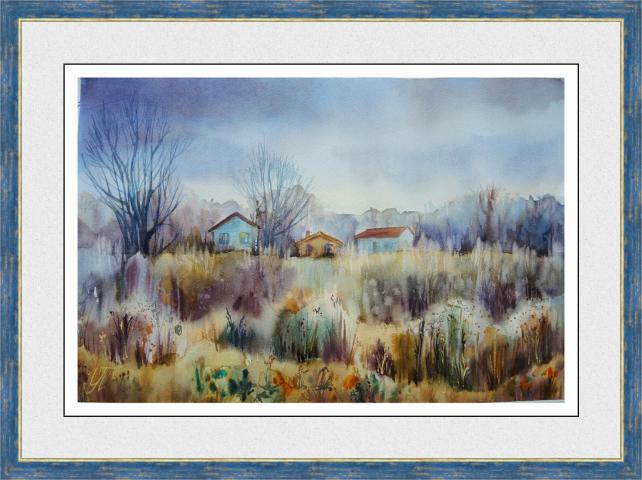 Картина акварелью Осенние травы