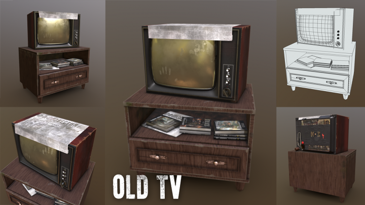 старый телевизор. Игровой ассет