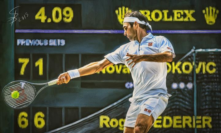 Roger Federer at Wimbledon 2019.