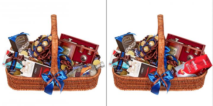 Замена алкоголя на кофе в подарочной корзине