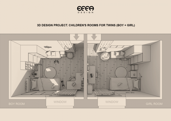 2,5D план детских комнат для близнецов (мальчик+девочка).