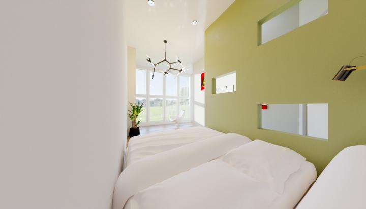 Визуализация комнаты с витражным видом