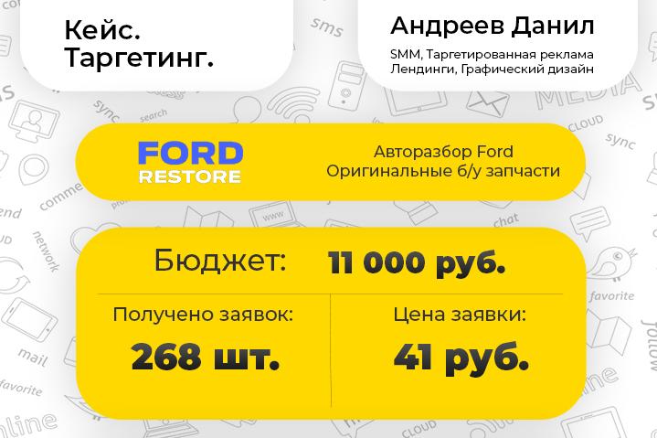 [Таргетинг] FordRestore - оригинальные б/запчасти Ford