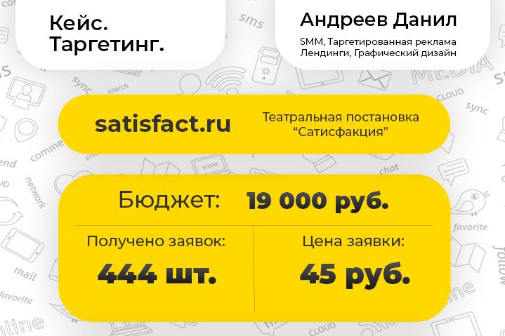 """[Таргетинг] Театральная постановка - """"Сатисфакция"""""""