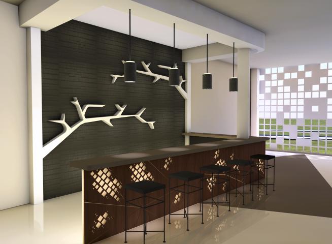 Концептуальная визуализация интерьера кафе