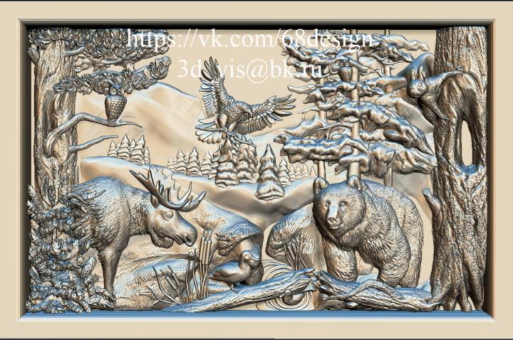 """Эскиз и 3d картина """"Природа и животный мир Югры"""""""