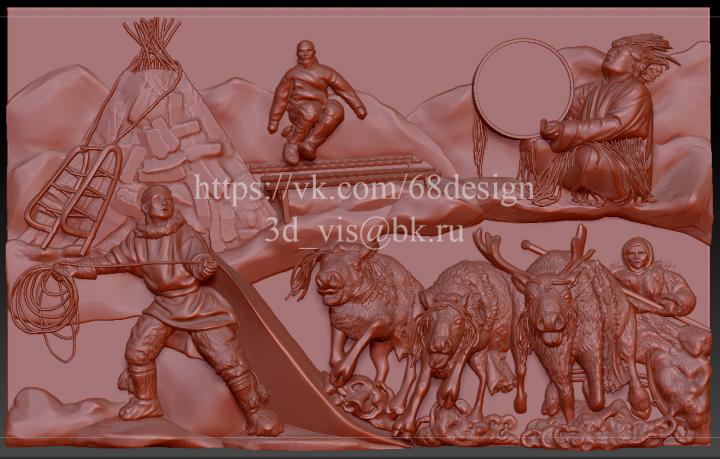 """Эскиз и 3d картина """"Народы и традиции Ханты-Мансийска"""""""
