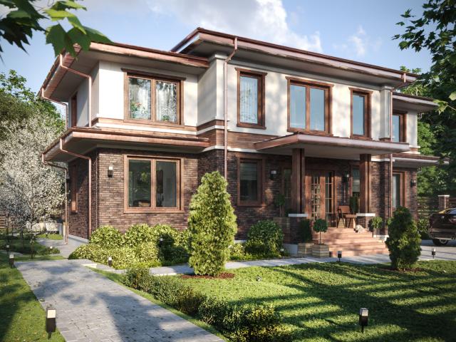 Визуализация дома в стиле Райта