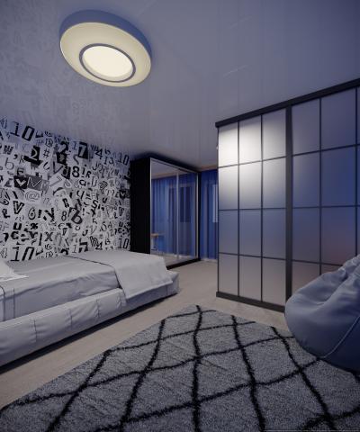 Дизайн детской комнаты в сине-серых тонах