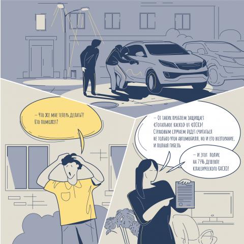 Комикс для POS-материалов страховой компании