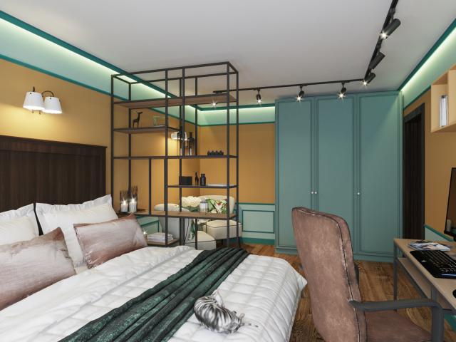 Дизайн проект спальни-гостиной
