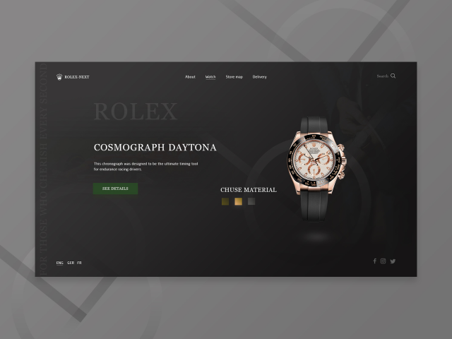 Концепт первого экрана Rolex