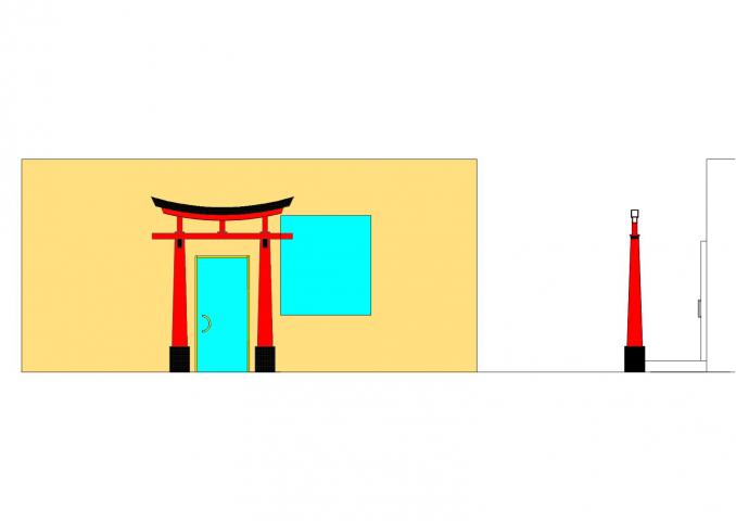 японская арка тории перед входной группой