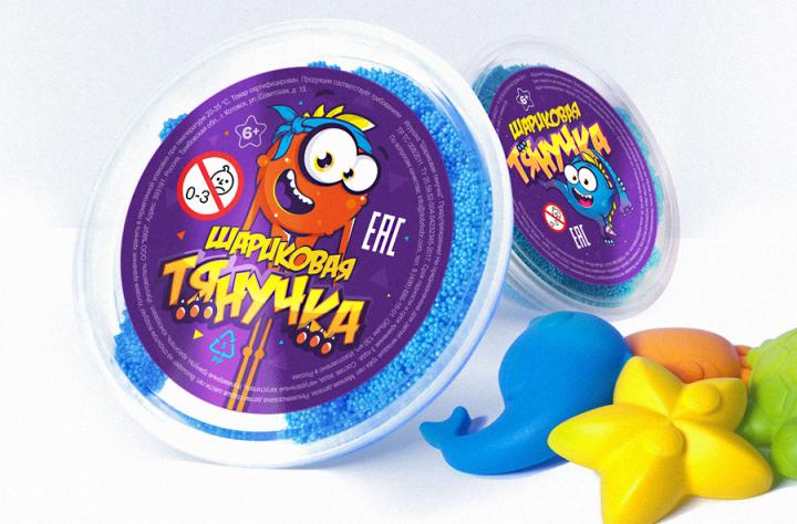 Этикетка с разработанными персонажами на детский товар