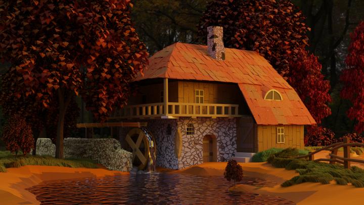 домик в осеннее время года