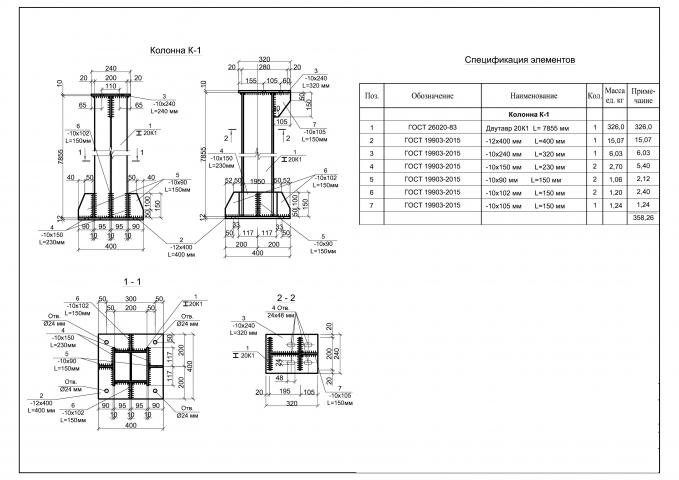 Металлическая несущая колонна (раздел КМ)